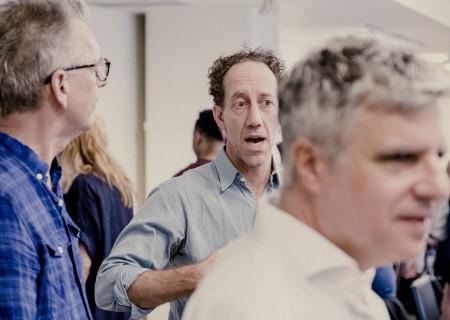 "L-R: Center Theatre Group Artistic Director Michael Ritchie, Joey Slotnick and Neil Pepe (foreground) at the first rehearsal for the world premiere of ""A Play Is a Poem"" by Ethan Coen. Directed by Pepe, ""A Play Is a Poem"" runs September 11 through October 13, 2019, at Center Theatre Group/Mark Taper Forum. For tickets and information, please visit CenterTheatreGroup.org or call (213) 628-2772. Media Contact: CTGMedia@CTGLA.org / (213) 972-7376. Photo by Benedict Evans."