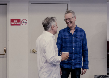 "L-R: Neil Pepe and Center Theatre Group Artistic Director Michael Ritchie at the first rehearsal for the world premiere of ""A Play Is a Poem"" by Ethan Coen. Directed by Pepe, ""A Play Is a Poem"" runs September 11 through October 13, 2019, at Center Theatre Group/Mark Taper Forum. For tickets and information, please visit CenterTheatreGroup.org or call (213) 628-2772. Media Contact: CTGMedia@CTGLA.org / (213) 972-7376. Photo by Benedict Evans."