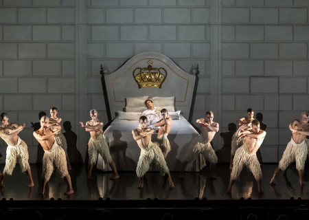 "Andrew Monaghan (on the bed) and company in Matthew Bourne's ""Swan Lake"" at Center Theatre Group/Ahmanson Theatre. Directed and choreographed by Bourne with music by Tchaikovsky, ""Swan Lake"" runs through January 5, 2020. For more information, please visit CenterTheatreGroup.org. Press Contact: CTGMedia@CTGLA.org / (213) 972-7376. Photo by Craig Schwartz."