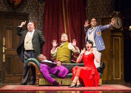 "L-R: Scott Cote, Yaegel T. Welch, Peyton Crim, Jamie Ann Romero and Ned Noyes in the national tour of ""The Play That Goes Wrong."" Written by Henry Lewis, Jonathan Sayer and Henry Shields and directed by Mark Bell, ""The Play That Goes Wrong"" will be presented by Center Theatre Group at the Ahmanson Theatre July 9 through August 11, 2019. For more information, please visit CenterTheatreGroup.org. Press Contact: CTGMedia@CTGLA.org / (213) 972-7376. Photo by Jeremy Daniel."