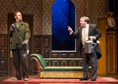 "L-R: Ned Noyes and Scott Cote in the national tour of ""The Play That Goes Wrong."" Written by Henry Lewis, Jonathan Sayer and Henry Shields and directed by Mark Bell, ""The Play That Goes Wrong"" will be presented by Center Theatre Group at the Ahmanson Theatre July 9 through August 11, 2019. For more information, please visit CenterTheatreGroup.org. Press Contact: CTGMedia@CTGLA.org / (213) 972-7376. Photo by Jeremy Daniel."