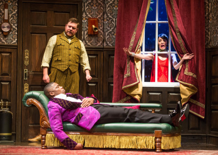 "L-R: Yaegel T. Welch (on sofa), Peyton Crim and Jamie Ann Romero in the national tour of ""The Play That Goes Wrong."" Written by Henry Lewis, Jonathan Sayer and Henry Shields and directed by Mark Bell, ""The Play That Goes Wrong"" will be presented by Center Theatre Group at the Ahmanson Theatre July 9 through August 11, 2019. For more information, please visit CenterTheatreGroup.org. Press Contact: CTGMedia@CTGLA.org / (213) 972-7376. Photo by Jeremy Daniel."