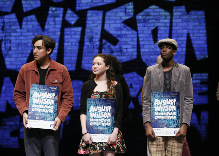 L-R: Daniel Velez, Mylah Eaton and Dejean Deterville are the winners of the 2019 August Wilson Monologue Competition Los Angeles Regional Finals hosted by Center Theatre Group at the Mark Taper Forum on March 11. Media Contact: (213) 972-7376 / CTGMedia@ctgla.org. Photo by Ryan Miller/Capture Imaging.