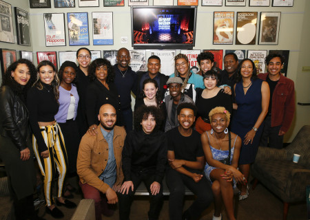 Student performers with the judges and program administrators for the 2019 August Wilson Monologue Competition Los Angeles Regional Finals hosted by Center Theatre Group at the Mark Taper Forum on March 11. Media Contact: (213) 972-7376 / CTGMedia@ctgla.org. Photo by Ryan Miller/Capture Imaging.