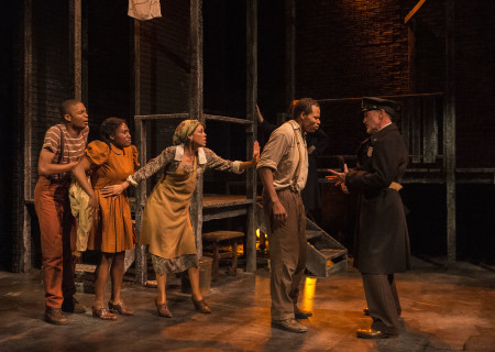 "L-R: Brandon Rachal, Mildred Marie Langford, Victoria Platt, Jon Chaffin and Ned Mochel in ""Native Son"" at Center Theatre Group's Kirk Douglas Theatre. Antaeus Theatre Company's production runs through April 28 as part of Block Party 2019. For more information, please visit CenterTheatreGroup.org. Press Contact: CTGMedia@CTGLA.org / (213) 972-7376. Photo by Craig Schwartz."