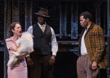 "L-R: Gigi Bermingham, Noel Arthur and Jon Chaffin in ""Native Son"" at Center Theatre Group's Kirk Douglas Theatre. Antaeus Theatre Company's production runs through April 28 as part of Block Party 2019. For more information, please visit CenterTheatreGroup.org. Press Contact: CTGMedia@CTGLA.org / (213) 972-7376. Photo by Craig Schwartz."
