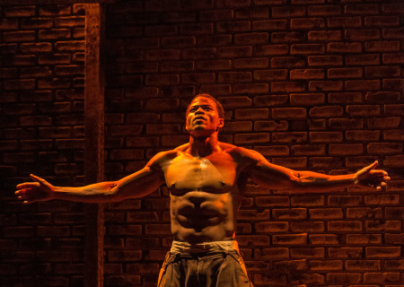 """Jon Chaffin in """"Native Son"""" at Center Theatre Group's Kirk Douglas Theatre. Antaeus Theatre Company's production runs through April 28 as part of Block Party 2019. For more information, please visit CenterTheatreGroup.org. Press Contact: CTGMedia@CTGLA.org / (213) 972-7376. Photo by Craig Schwartz."""