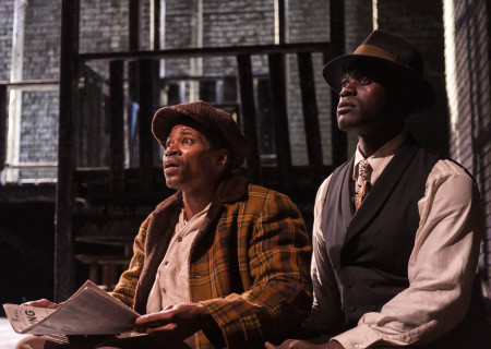 "L-R: Jon Chaffin and Noel Arthur in ""Native Son"" at Center Theatre Group's Kirk Douglas Theatre. Antaeus Theatre Company's production runs through April 28 as part of Block Party 2019. For more information, please visit CenterTheatreGroup.org. Press Contact: CTGMedia@CTGLA.org / (213) 972-7376. Photo by Craig Schwartz."