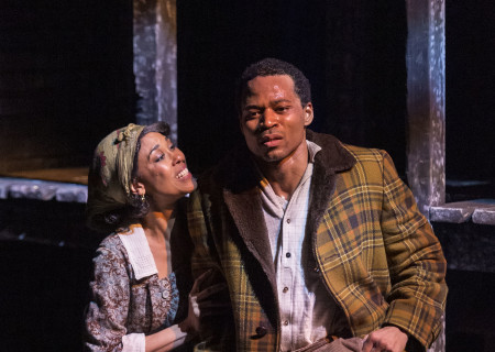 "L-R: Victoria Platt and Jon Chaffin in ""Native Son"" at Center Theatre Group's Kirk Douglas Theatre. Antaeus Theatre Company's production runs through April 28 as part of Block Party 2019. For more information, please visit CenterTheatreGroup.org. Press Contact: CTGMedia@CTGLA.org / (213) 972-7376. Photo by Craig Schwartz."