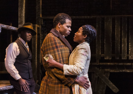 "L-R: Noel Arthur, Jon Chaffin and Mildred Marie Langford in ""Native Son"" at Center Theatre Group's Kirk Douglas Theatre. Antaeus Theatre Company's production runs through April 28 as part of Block Party 2019. For more information, please visit CenterTheatreGroup.org. Press Contact: CTGMedia@CTGLA.org / (213) 972-7376. Photo by Craig Schwartz."