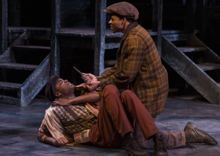 "L-R: Brandon Rachal and Jon Chaffin in ""Native Son"" at Center Theatre Group's Kirk Douglas Theatre. Antaeus Theatre Company's production runs through April 28 as part of Block Party 2019. For more information, please visit CenterTheatreGroup.org. Press Contact: CTGMedia@CTGLA.org / (213) 972-7376. Photo by Craig Schwartz."