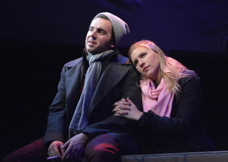 "L-R: Ryan Brophy and Miranda Wynne in Skylight Theatre Company's original production of ""Rotterdam,"" which will be remounted at Center Theatre Group's Kirk Douglas Theatre from March 28 – April 7 as part of Block Party 2019. For more information, please visit CenterTheatreGroup.org. Press Contact: CTGMedia@CTGLA.org / (213) 972-7376. Photo by Ed Krieger."