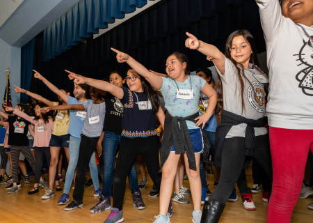 "Students from Tulsa Street Elementary rehearsing for their production of ""Aladdin KIDS,"" part of Center Theatre Group's second annual Disney Musicals in Schools (DMIS) program. Press Contact: CTGMedia@CTGLA.org / (213) 972-7376. Photo by Hal Banfield."