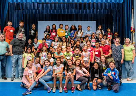 Educators and Center Theatre Group teaching artists with students from Tulsa Street Elementary, who are all participating in Center Theatre Group's second annual Disney Musicals in Schools (DMIS) program. Press Contact: CTGMedia@CTGLA.org / (213) 972-7376. Photo by Hal Banfield