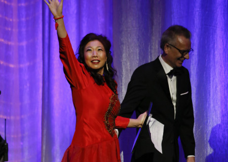 L-R: The 2019 Dorothy and Richard E. Sherwood Award Recipient Kristina Wong and Center Theatre Group Artistic Director Michael Ritchie during the 29th Annual LA Stage Alliance Ovation Awards held at The Theatre at Ace Hotel on January 28, 2019 in Los Angeles, California. Media Contact: CTGMedia@CTGLA.org / (213) 972-7376. Photo by Ryan Miller/Capture Imaging.