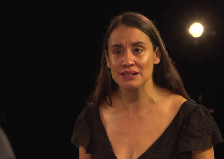 "Sabina Zúñiga Varela appears in ""Mojada"" captured at the Kirk Douglas Theatre and presented on Center Theatre Group's Digital Stage. Image courtesy of Center Theatre Group."