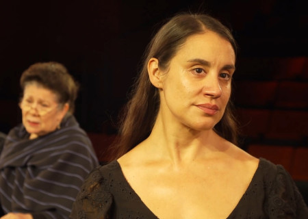 "Foreground to background: Sabina Zúñiga Varela, VIVIS and Justin Huen appear in ""Mojada"" captured at the Kirk Douglas Theatre and presented on Center Theatre Group's Digital Stage. Image courtesy of Center Theatre Group."