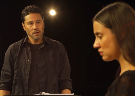 "L to R: Justin Huen and Sabina Zúñiga Varela appear in ""Mojada"" captured at the Kirk Douglas Theatre and presented on Center Theatre Group's Digital Stage. Image courtesy of Center Theatre Group."