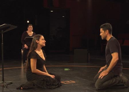 "L to R: Estela Garcia (background), Sabina Zúñiga Varela and Justin Huen appear in ""Mojada"" captured at the Kirk Douglas Theatre and presented on Center Theatre Group's Digital Stage. Image courtesy of Center Theatre Group."