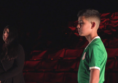 "L to R: Estela Garcia and Jordan Galindo appear in ""Mojada"" captured at the Kirk Douglas Theatre and presented on Center Theatre Group's Digital Stage. Image courtesy of Center Theatre Group."
