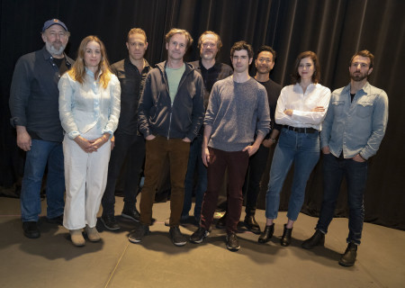 """L-R: Arye Gross, Emily Cass McDonnell, Matthew Rauch, Josh Hamilton, Andrew Garman, Brian Miskell, Louis Ozawa, Nicole Rodenburg and Alex Hurt at the first rehearsal for Annie Baker's """"The Antipodes."""" Directed by Machel Ross based on Lila Neugebauer's original direction of the world premiere at Signature Theatre, """"The Antipodes"""" runs at Center Theatre Group/Mark Taper Forum March 25 through April 26, 2020. For tickets and information, please visit CenterTheatreGroup.org or call (213) 628-2772. Media Contact: CTGMedia@CTGLA.org / (213) 972-7376. Photo by Joan Marcus."""