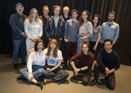 """L-R: (standing) Arye Gross, Emily Cass McDonnell, Matthew Rauch, Josh Hamilton, Andrew Garman, Brian Miskell, Machel Ross, Lila Neugebauer and Alex Hurt; (seated) Nicole Rodenburg, Annie Baker, Federica Borlenghi and Louis Ozawa at the first rehearsal for Annie Baker's """"The Antipodes."""" Directed by Machel Ross based on Lila Neugebauer's original direction of the world premiere at Signature Theatre, """"The Antipodes"""" runs at Center Theatre Group/Mark Taper Forum March 25 through April 26, 2020. For tickets and information, please visit CenterTheatreGroup.org or call (213) 628-2772. Media Contact: CTGMedia@CTGLA.org / (213) 972-7376. Photo by Joan Marcus."""