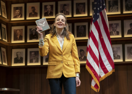"Maria Dizzia in the national tour of ""What the Constitution Means to Me."" Written by Heidi Schreck and directed by Oliver Butler, ""What the Constitution Means to Me"" is presented by Center Theatre Group at the Mark Taper Forum through February 28, 2020. For more information, please visit CenterTheatreGroup.org. Press Contact: CTGMedia@CTGLA.org / (213) 972-7376. Photo by Joan Marcus."