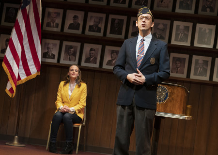 "(background) Maria Dizzia and (foreground) Mike Iveson in the national tour of ""What the Constitution Means to Me."" Written by Heidi Schreck and directed by Oliver Butler, ""What the Constitution Means to Me"" is presented by Center Theatre Group at the Mark Taper Forum through February 28, 2020. For more information, please visit CenterTheatreGroup.org. Press Contact: CTGMedia@CTGLA.org / (213) 972-7376. Photo by Joan Marcus."