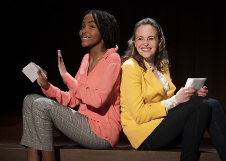 "L-R: Rosdely Ciprian and Maria Dizzia in the national tour of ""What the Constitution Means to Me."" Written by Heidi Schreck and directed by Oliver Butler, ""What the Constitution Means to Me"" is presented by Center Theatre Group at the Mark Taper Forum through February 28, 2020. For more information, please visit CenterTheatreGroup.org. Press Contact: CTGMedia@CTGLA.org / (213) 972-7376. Photo by Joan Marcus."