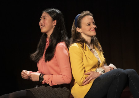 "L-R: Jocelyn Shek and Maria Dizzia in the national tour of ""What the Constitution Means to Me."" Written by Heidi Schreck and directed by Oliver Butler, ""What the Constitution Means to Me"" is presented by Center Theatre Group at the Mark Taper Forum through February 28, 2020. For more information, please visit CenterTheatreGroup.org. Press Contact: CTGMedia@CTGLA.org / (213) 972-7376. Photo by Joan Marcus."