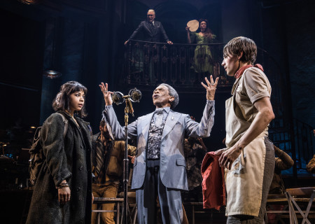 "L-R: Eva Noblezada, André De Shields and Reeve Carney in the Original Broadway Cast of ""Hadestown."" The national tour of ""Hadestown"" will be part of Center Theatre Group's 2020-2021 season at the Ahmanson Theatre. For more information, please visit CenterTheatreGroup.org. Press Contact: CTGMedia@CTGLA.org / (213) 972-7376. Photo by Matthew Murphy."