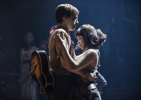 "L-R: Reeve Carney and Eva Noblezada in the Original Broadway Cast of ""Hadestown."" The national tour of ""Hadestown"" will be part of Center Theatre Group's 2020-2021 season at the Ahmanson Theatre. For more information, please visit CenterTheatreGroup.org. Press Contact: CTGMedia@CTGLA.org / (213) 972-7376. Photo by Matthew Murphy."
