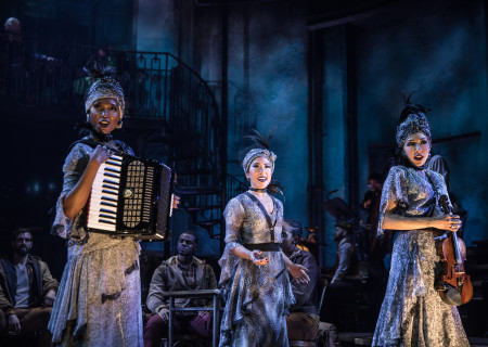 "L-R: Jewelle Blackman, Kay Trinidad and Yvette Gonzalez-Nacer in the Original Broadway Cast of ""Hadestown."" The national tour of ""Hadestown"" will be part of Center Theatre Group's 2020-2021 season at the Ahmanson Theatre. For more information, please visit CenterTheatreGroup.org. Press Contact: CTGMedia@CTGLA.org / (213) 972-7376. Photo by Matthew Murphy."