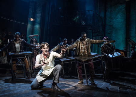 "Reeve Carney (center) and the Original Broadway Cast of ""Hadestown."" The national tour of ""Hadestown"" will be part of Center Theatre Group's 2020-2021 season at the Ahmanson Theatre. For more information, please visit CenterTheatreGroup.org. Press Contact: CTGMedia@CTGLA.org / (213) 972-7376. Photo by Matthew Murphy."
