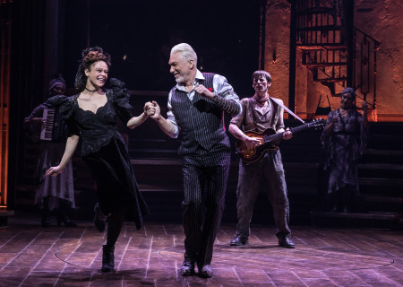 "L-R: Amber Gray, Patrick Page and Reeve Carney in the Original Broadway Cast of ""Hadestown."" The national tour of ""Hadestown"" will be part of Center Theatre Group's 2020-2021 season at the Ahmanson Theatre. For more information, please visit CenterTheatreGroup.org. Press Contact: CTGMedia@CTGLA.org / (213) 972-7376. Photo by Matthew Murphy."