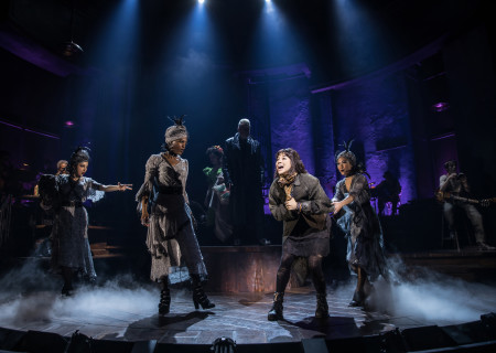 "Eva Noblezada (center) and the Original Broadway Cast of ""Hadestown."" The national tour of ""Hadestown"" will be part of Center Theatre Group's 2020-2021 season at the Ahmanson Theatre. For more information, please visit CenterTheatreGroup.org. Press Contact: CTGMedia@CTGLA.org / (213) 972-7376. Photo by Matthew Murphy."
