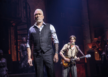 "L-R: Patrick Page and Reeve Carney in the Original Broadway Cast of ""Hadestown."" The national tour of ""Hadestown"" will be part of Center Theatre Group's 2020-2021 season at the Ahmanson Theatre. For more information, please visit CenterTheatreGroup.org. Press Contact: CTGMedia@CTGLA.org / (213) 972-7376. Photo by Matthew Murphy."