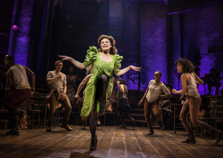 "Amber Gray (center) and the Original Broadway Cast of ""Hadestown."" The national tour of ""Hadestown"" will be part of Center Theatre Group's 2020-2021 season at the Ahmanson Theatre. For more information, please visit CenterTheatreGroup.org. Press Contact: CTGMedia@CTGLA.org / (213) 972-7376. Photo by Matthew Murphy."