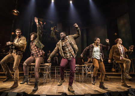 "Workers Chorus in the Original Broadway Cast of ""Hadestown."" The national tour of ""Hadestown"" will be part of Center Theatre Group's 2020-2021 season at the Ahmanson Theatre. For more information, please visit CenterTheatreGroup.org. Press Contact: CTGMedia@CTGLA.org / (213) 972-7376. Photo by Matthew Murphy."