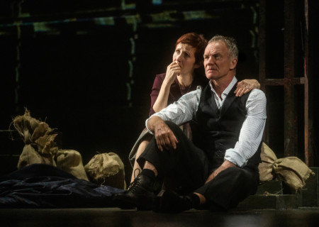 "L-R: Jackie Morrison and Sting in ""The Last Ship."" With a new book and direction by Lorne Campbell (original book by John Logan and Brian Yorkey) and music and lyrics by Sting, ""The Last Ship"" is presented by Center Theatre Group at the Ahmanson Theatre through February 16, 2020. For more information, please visit CenterTheatreGroup.org. Press Contact: CTGMedia@CTGLA.org / (213) 972-7376. Photo by Matthew Murphy."