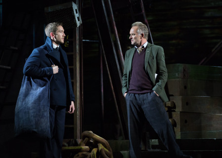 "L-R: Oliver Savile and Sting in the Toronto production of ""The Last Ship."" With a new book and direction by Lorne Campbell (original book by John Logan and Brian Yorkey) and music and lyrics by Sting, ""The Last Ship"" will be presented by Center Theatre Group at the Ahmanson Theatre January 14 through February 16, 2020. For more information, please visit CenterTheatreGroup.org. Press Contact: CTGMedia@CTGLA.org / (213) 972-7376. Photo by Cylla von Tiedemann."