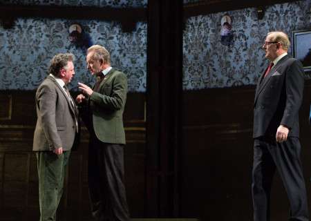 "L-R: Joe Caffrey, Sting and Sean Kearns in the Toronto production of ""The Last Ship."" With a new book and direction by Lorne Campbell (original book by John Logan and Brian Yorkey) and music and lyrics by Sting, ""The Last Ship"" will be presented by Center Theatre Group at the Ahmanson Theatre January 14 through February 16, 2020. For more information, please visit CenterTheatreGroup.org. Press Contact: CTGMedia@CTGLA.org / (213) 972-7376. Photo by Cylla von Tiedemann."