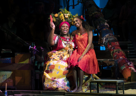 """L-R: Kyle Ramar Freeman and Courtnee Carter in """"Once on This Island."""" With book and lyrics by Lynn Ahrens, music by Stephen Flaherty, choreography by Camille A. Brown and directed by Michael Arden, """"Once on This Island"""" is presented by Center Theatre Group at the Ahmanson Theatre April 7 through May 10, 2020. For more information, please visit CenterTheatreGroup.org. Press Contact: CTGMedia@CTGLA.org / (213) 972-7376. Photo by Joan Marcus."""