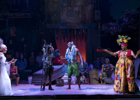 """L-R: Cassondra James, Tamyra Gray, Jahmaul Bakare and Kyle Ramar Freeman in """"Once on This Island."""" With book and lyrics by Lynn Ahrens, music by Stephen Flaherty, choreography by Camille A. Brown and directed by Michael Arden, """"Once on This Island"""" is presented by Center Theatre Group at the Ahmanson Theatre April 7 through May 10, 2020. For more information, please visit CenterTheatreGroup.org. Press Contact: CTGMedia@CTGLA.org / (213) 972-7376. Photo by Joan Marcus."""
