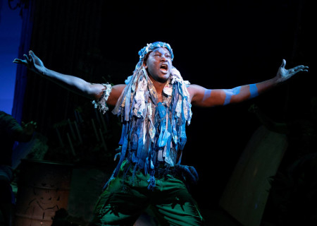 """Jahmaul Bakare in """"Once on This Island."""" With book and lyrics by Lynn Ahrens, music by Stephen Flaherty, choreography by Camille A. Brown and directed by Michael Arden, """"Once on This Island"""" is presented by Center Theatre Group at the Ahmanson Theatre April 7 through May 10, 2020. For more information, please visit CenterTheatreGroup.org. Press Contact: CTGMedia@CTGLA.org / (213) 972-7376. Photo by Joan Marcus."""
