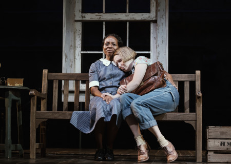 "L-R: LisaGay Hamilton and Nina Grollman in the Broadway production of ""To Kill a Mockingbird."" The national tour of ""To Kill a Mockingbird"" will run April 29 through June 6, 2021, as part of Center Theatre Group's 2020 – 2021 season at the Ahmanson Theatre. For more information, please visit CenterTheatreGroup.org. Press Contact: CTGMedia@CTGLA.org / (213) 972-7376. Photo by Julieta Cervantes."