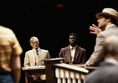 "L-R: Ed Harris and Kyle Scatliffe in the Broadway production of ""To Kill a Mockingbird."" The national tour of ""To Kill a Mockingbird"" will run April 29 through June 6, 2021, as part of Center Theatre Group's 2020 – 2021 season at the Ahmanson Theatre. For more information, please visit CenterTheatreGroup.org. Press Contact: CTGMedia@CTGLA.org / (213) 972-7376. Photo by Julieta Cervantes."