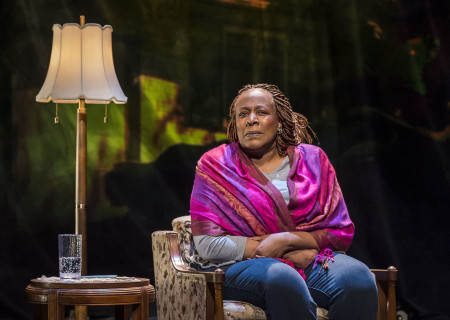 "Dael Orlandersmith in ""Until the Flood."" Written by Orlandersmith and directed by Neel Keller, ""Until the Flood"" runs through February 23 at Center Theatre Group's Kirk Douglas Theatre. For more information, please visit CenterTheatreGroup.org. Press Contact: CTGMedia@CTGLA.org / (213) 972-7376. Photo by Craig Schwartz."
