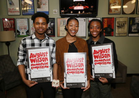 L-R: Kyle Branch, Tyla Uzo and Fletcher Jones are the winners of the 2020 August Wilson Monologue Competition (AWMC) Los Angeles Regional Finals hosted by Center Theatre Group at the Mark Taper Forum on February 25. Media Contact: (213) 972-7376 / CTGMedia@ctgla.org. Photo by Ryan Miller/Capture Imaging.
