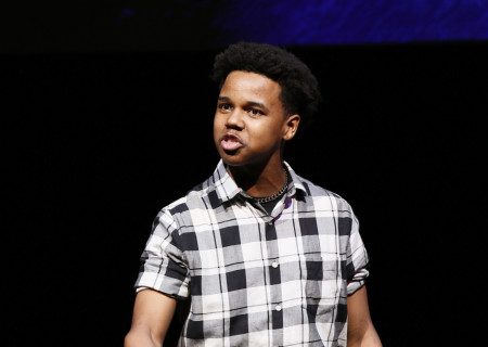 Kyle Branch performs in the 2020 August Wilson Monologue Competition (AWMC) Los Angeles Regional Finals hosted by Center Theatre Group at the Mark Taper Forum on February 25. Media Contact: (213) 972-7376 / CTGMedia@ctgla.org. Photo by Ryan Miller/Capture Imaging.